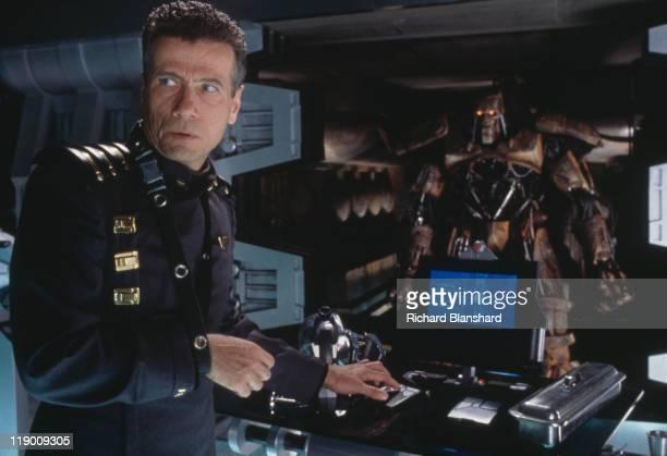 German actor Jurgen Prochnow stars as Judge Griffin in the dystopian scifi film 'Judge Dredd' 1995