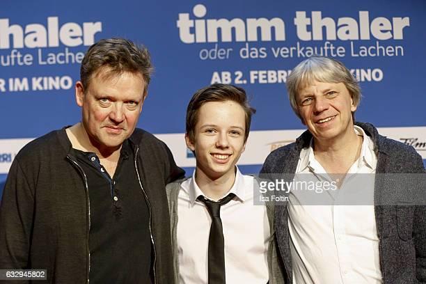 German actor Justus von Dohnanyi german actor Arved Friese and director Andreas Dresen attend the 'Timm Thaler oder das verkaufte Lachen' Premiere on...