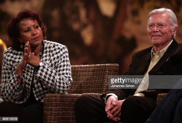 German actor Karlheinz Boehm and his wife Almaz are seen during a press conference at Bavaria Film television studios on April 21 2008 in Gruenwald...