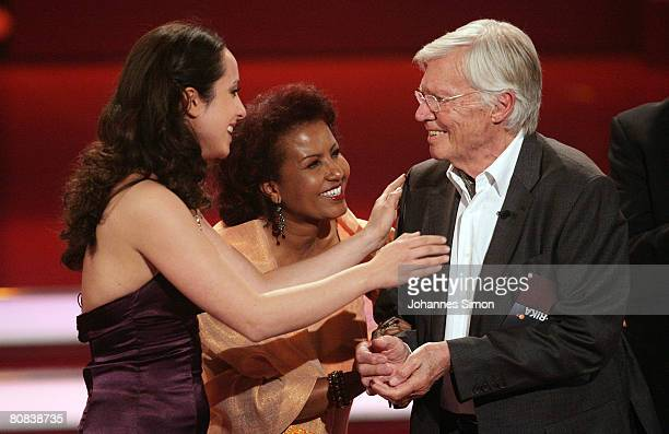 German actor Karlheinz Boehm celebrates with Stephanie Stumph and his wife Almaz during the TVshow Congratulations Karlheinz Boehm A Life For Africa...