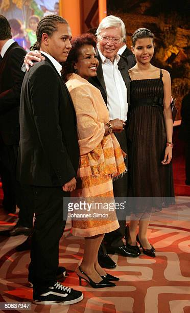 German actor Karlheinz Boehm his wife Almaz and his two children pose after the TVshow Congratulations Karlheinz Boehm A Life For Africa at Bavaria...