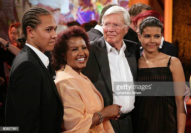 German actor Karlheinz Boehm his wife Almaz and his two children pose after the TVshow 'Congratulations Karlheinz Boehm A Life For Africa' at Bavaria...