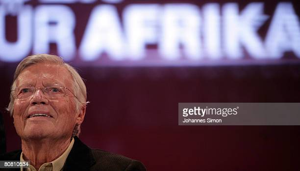 German actor Karlheinz Boehm is seen during a press conference at Bavaria Film television studios on April 21 2008 in Gruenwald Germany The German TV...