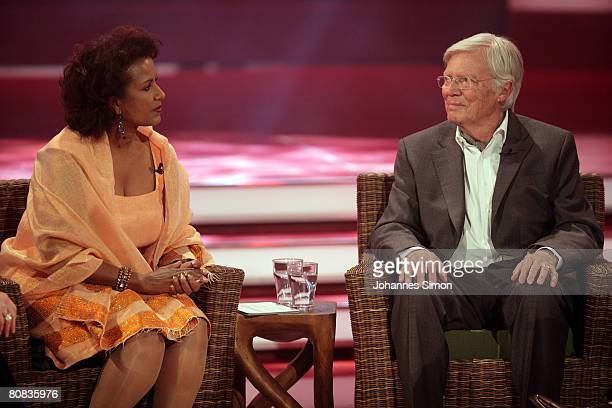 German actor Karlheinz Boehm is seen with his wife Almaz during the telecast Congratulations Karlheinz Boehm A Life For Africa at Bavaria Film...