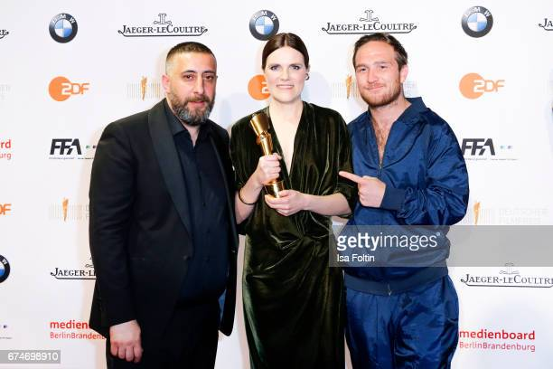 German actor Kida Khodr Ramadan german actress and award winner for the best female featured part Fritzi Haberlandt and laudator Frederick Lau at the...