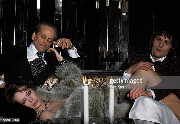 German actor Klaus Kinski French actress Francoise Fabian and British singer and actor Murray Head on set of the movie Madame Claude directed by Just...