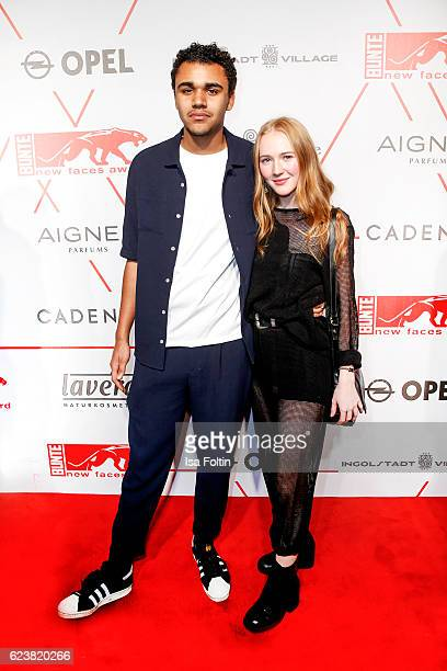 German actor Langston Uibel and his girlfriend Gina Stiebitz attend New Faces Award Style on November 16 2016 in Berlin Germany