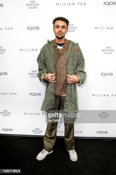 German actor Langston Uibel arrives for the William Fan Defile during 'Der Berliner Salon' Autumn/Winter 2019 at Knutschfleck on January 15 2019 in...