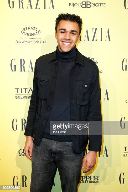 German actor Langston Uibel attends the Grazia Fashion Dinner at Titanic Deluxe Hotel on January 16 2018 in Berlin Germany