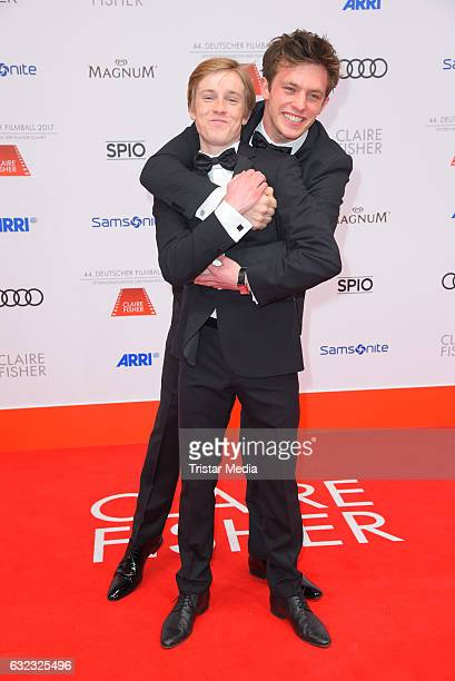 German actor Louis Hofmann and german actor Jannis Niewoehner attend the German Film Ball 2017 at Hotel Bayerischer Hof on January 21 2017 in Munich...