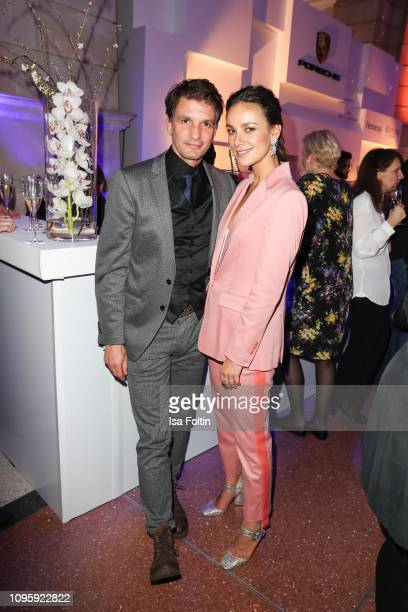 German actor Luca Zamperoni and German actress Janina Uhse attend the Blue Hour Party hosted by ARD during the 69th Berlinale International Film...