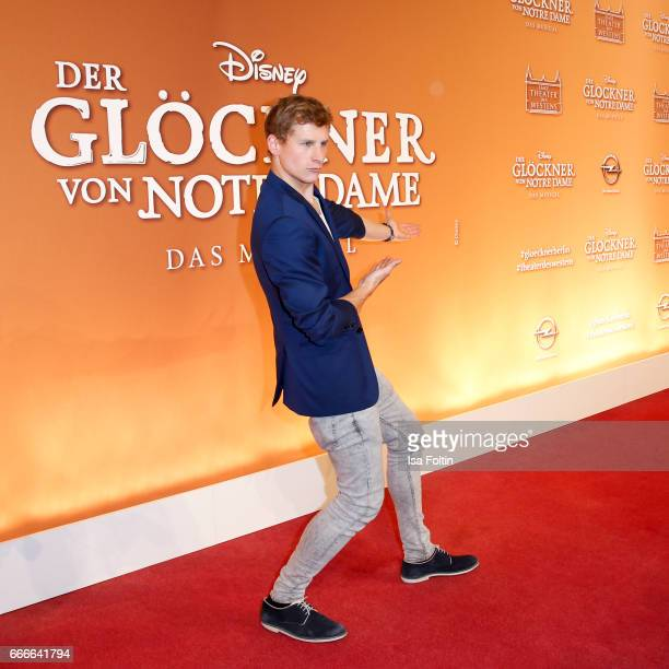 German actor Lukas Sauer attends the premiere of the musical 'Der Gloeckner von Notre Dame' on April 9 2017 in Berlin Germany