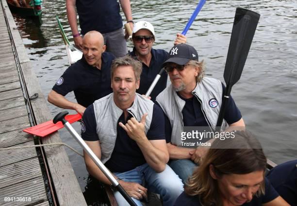 German actor Manou Lubowski Martin Krug German actor Andreas Brucker and German actor Bruno Eyron attend the Michael Stich Foundation Presents Dragon...