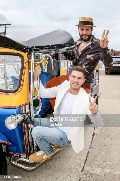 German actor Manuel Cortez and German singer Joey Heindle during the 'Global Gladiators' photo call on August 20 2018 in Berlin Germany