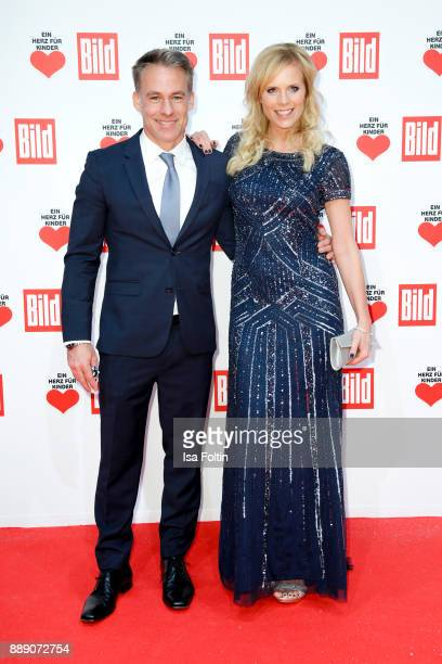 German actor Marco Girnth and German actress Melanie Marschke attend the 'Ein Herz fuer Kinder Gala' at Studio Berlin Adlershof on December 9 2017 in...