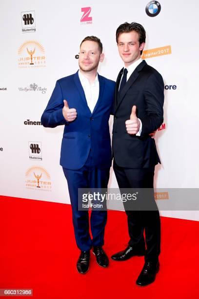 German actor Marco Kreuzpaintner and german actor Jannis Niewoehner attend the Jupiter Award at Cafe Moskau on March 29 2017 in Berlin Germany