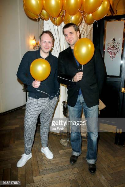 German actor Martin Stange and GermanFrench actor Pierre Kiwitt attend the Blaue Blume Awards 2018 at Grosz on February 14 2018 in Berlin Germany