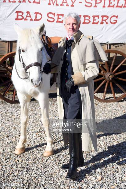 German actor Mathieu Carriere attends the 'Old Surehand' photo call for the Karl May Festival on February 24 2017 in Bad Segeberg Germany The Karl...