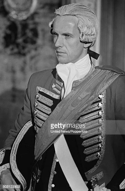 German actor Mathieu Carriere pictured in period costume as the character 'Richter' during filming of the television series 'Les Aventuriers du...