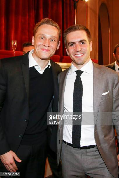 German actor Matthias Schweighoefer and former German soccer player Philipp Lahm attend the GQ Men of the year Award 2017 after show party at...