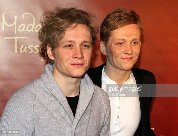 German actor Matthias Schweighoefer unveils his wax figure at 'Madame Tussaud's Berlin' on January 30 2012 in Berlin Germany