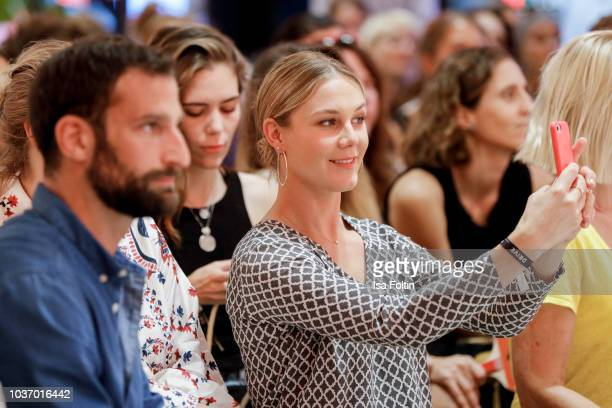 German actor Matthias Weidenhoefer and German presenter Alina Merkau during the discussion panel of Cliché Bashing 'I m perfect Take it easy Girl vs...