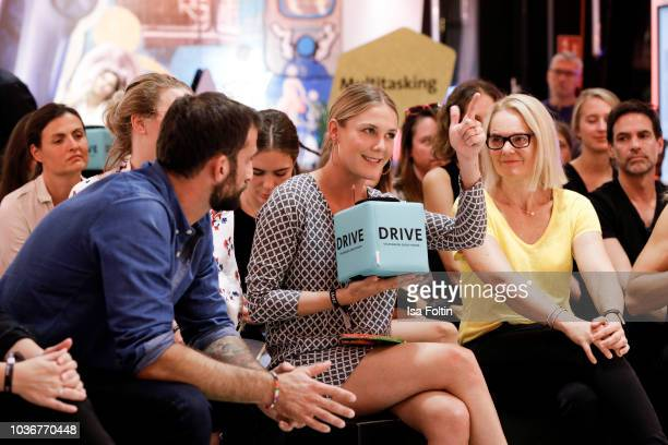 German actor Matthias Weidenhoefer German presenter Alina Merkau and Elke Heitmueller during the discussion panel of Cliché Bashing 'I m perfect Take...