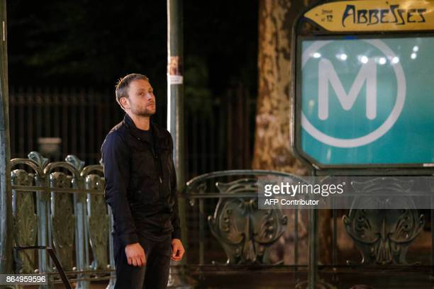 German actor Max Riemelt is pictured on the set of Netflix TV scifi series Sense8 in the Montmartre area of Paris on october 21 2017 / AFP PHOTO /...