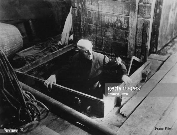 German actor Max Schreck as the vampire Count Orlok emerges onto the deck of the Demeter in a scene from F W Murnau's expressionist horror film...