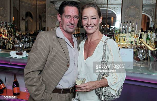 German actor Max Tidof and his wife Lisa Seitz attend the True Blood photocall at Hotel Bayerischer Hof on August 8 2011 in Munich Germany