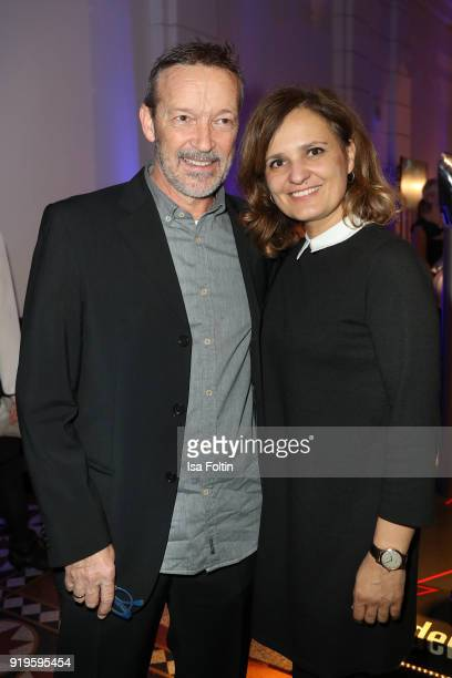 German actor Michael Roll and guest attend the Blue Hour Reception hosted by ARD during the 68th Berlinale International Film Festival Berlin on...