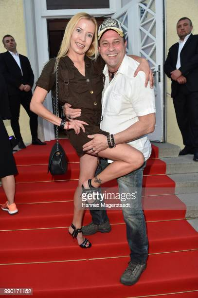 German actor Michel Guillaume and his girlfriend Georgia Carina Schultze attend the UFA Fiction Reception during the Munich Film Festival 2016 at...