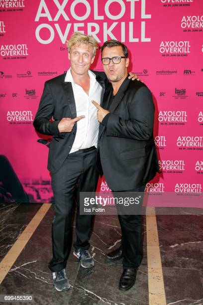 German actor Oliver Masucci and Thorsten Koch attend the 'Axolotl Overkill' Berlin Premiere at Volksbuehne RosaLuxemburgPlatz on June 21 2017 in...