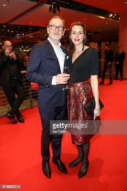 German actor Peter Lohmeyer and Leonie Seifert attend the opening party of the 68th Berlinale International Film Festival Berlin at Berlinale Palace...