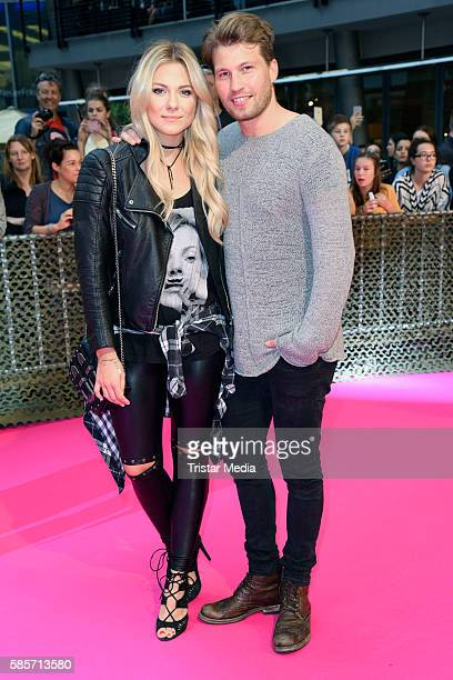 German actor Raul Richter and his girlfriend german actress Valentina Pahde attend the Suicide Squad Live Event at CineStar on August 3 2016 in...