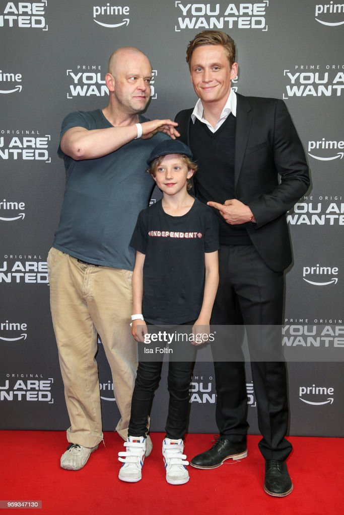 German actor Robert Gallinowski, child Oskar Weisz and German actor, director and producer Matthias Schweighoefer attend the premiere of the second season of 'You are wanted' at Filmtheater am Friedrichshain on May 16, 2018 in Berlin, Germany.