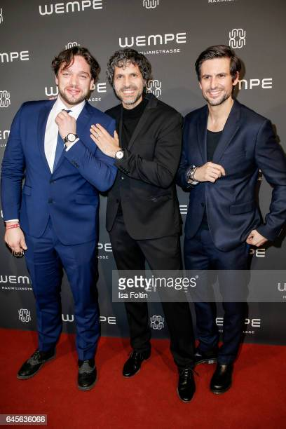 German actor Ronald Zehrfeld actor Pasquale Aleardi and german actor Tom Beck attend the Wempe store opening on February 23 2017 in Munich Germany