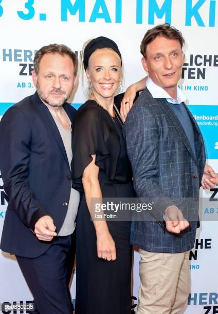 German actor Samuel Finzi German actress Katja Riemann and German actor Oliver Masucci during the 'Herrliche Zeiten' Premiere In Berlin at Kino...