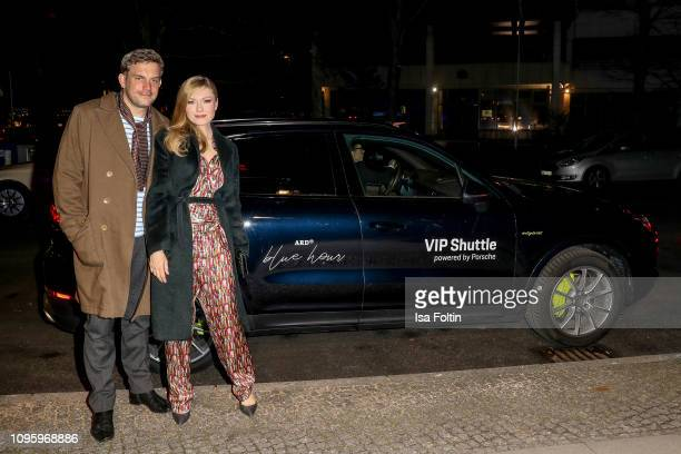 German actor Sebastian Bezzel and his wife Johanna Christine Gehlen attend the Blue Hour Party hosted by ARD during the 69th Berlinale International...