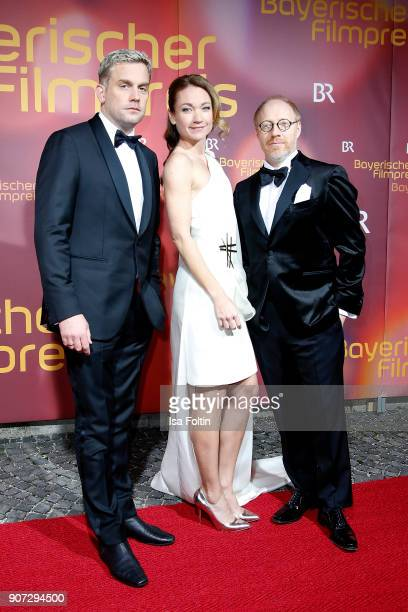 German actor Sebastian Bezzel German actress Lisa Maria Potthoff and German actor Simon Schwarz attend the Bayerischer Filmpreis 2018 at...