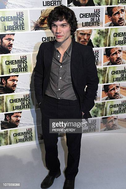 German actor Sebastian Urzendowsky poses during the photocall of Australian film director Peter Weir's movie The Way Back on December 13 2010 at the...