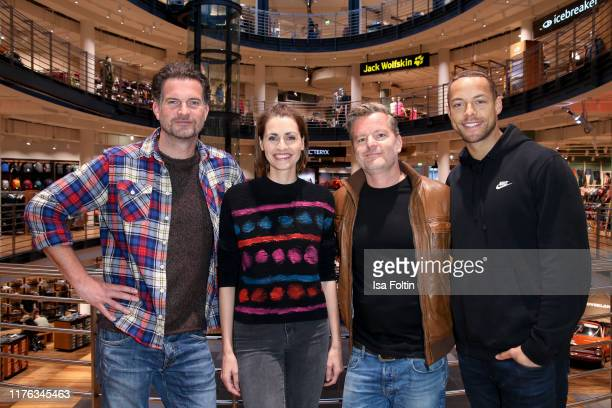 German actor Simon Boeer German presenter Bella Lesnik German actor Andre Dietz and TV Bachelor Andrej Mangold during the Globetrotter celebrates...