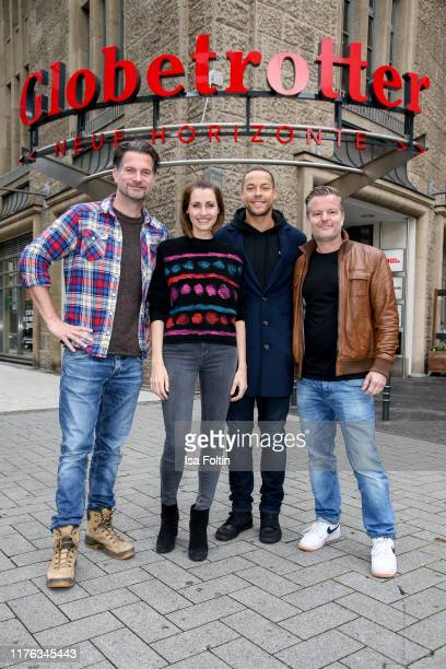 German actor Simon Boeer German presenter Bella Lesnik TV Bachelor Andrej Mangold and German actor Andre Dietz during the Globetrotter celebrates...