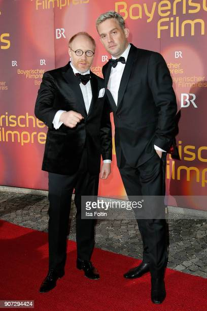 German actor Simon Schwarz and German actor Sebastian Bezzel attend the Bayerischer Filmpreis 2018 at Prinzregententheater on January 21 2018 in...