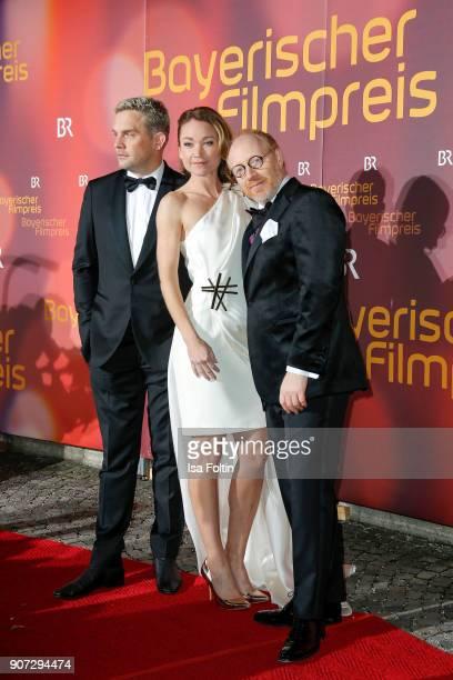 German actor Simon Schwarz German actress Lisa Maria Potthoff and German actor Sebastian Bezzel attend the Bayerischer Filmpreis 2018 at...