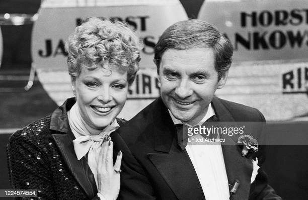 German actor singer and entertainer Harald Juhnke with Barbara Schoene Germany circa 1980