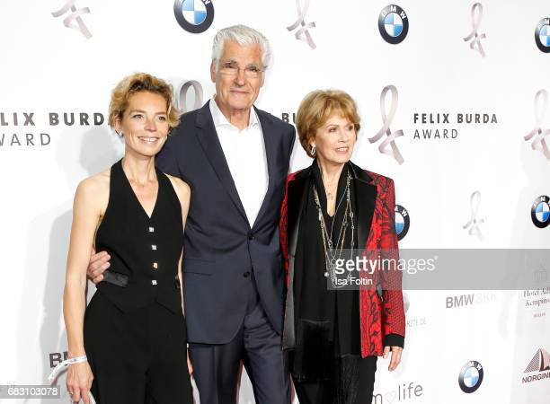 German actor Sky du Mont with his partner Christine Schuetze and Christa Maar attend the Felix Burda Award 2017 at Hotel Adlon on May 14 2017 in...