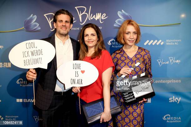 German actor Steffen Groth, German actress Rebecca Immanuel and German actress Annika Ernst attend the Blaue Blume Awards at Restaurant Grosz on...