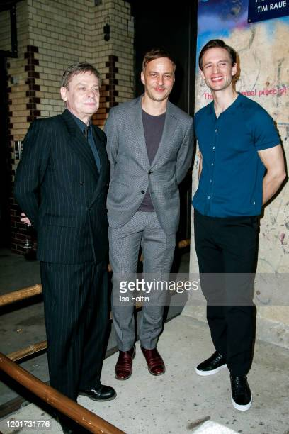 German actor Sylvester Groth German actor Tom Wlaschiha and German actor August Wittgenstein attend the Place To B PreBerlinaleDinner at Restaurant...