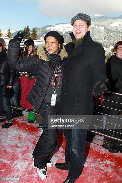 German actor Thomas Heinze and Jackie Brown attend the Hahnenkamm race on January 22 2011 in Kitzbuehel Austria